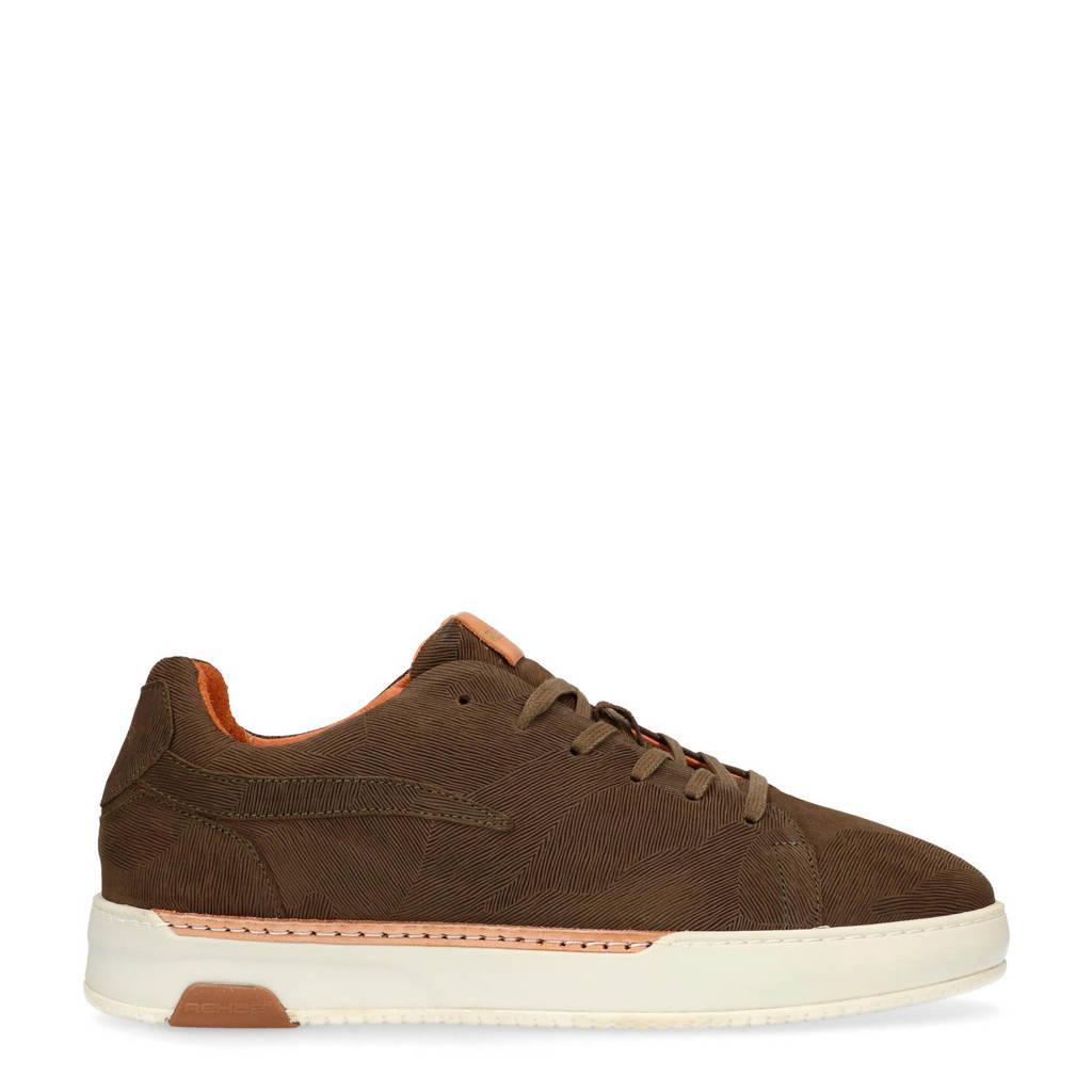 Rehab  leren sneakers bruin, Bruin/groen