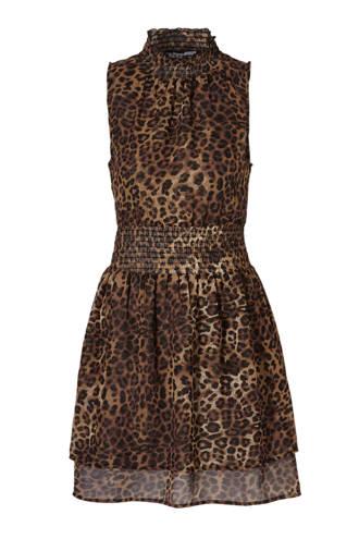 mouwloze jurk met panterprint