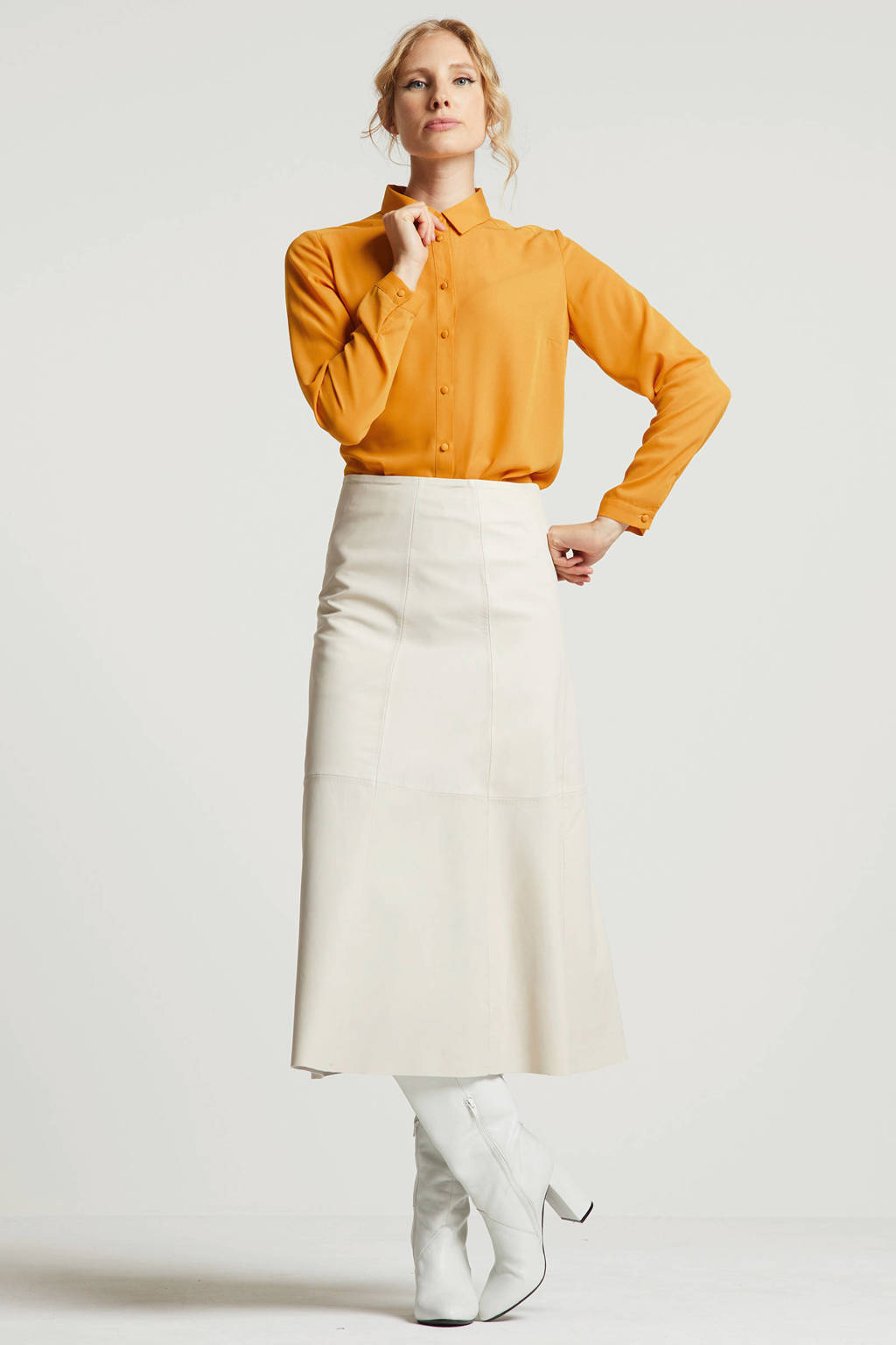 wehkamp gerecycled polyester blouse okergeel, Okergeel