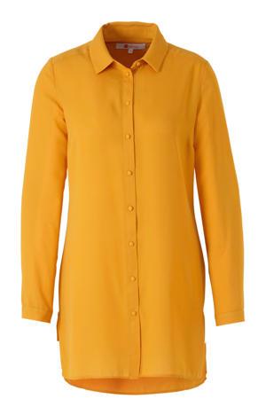 blouse van gerecycled polyester okergeel