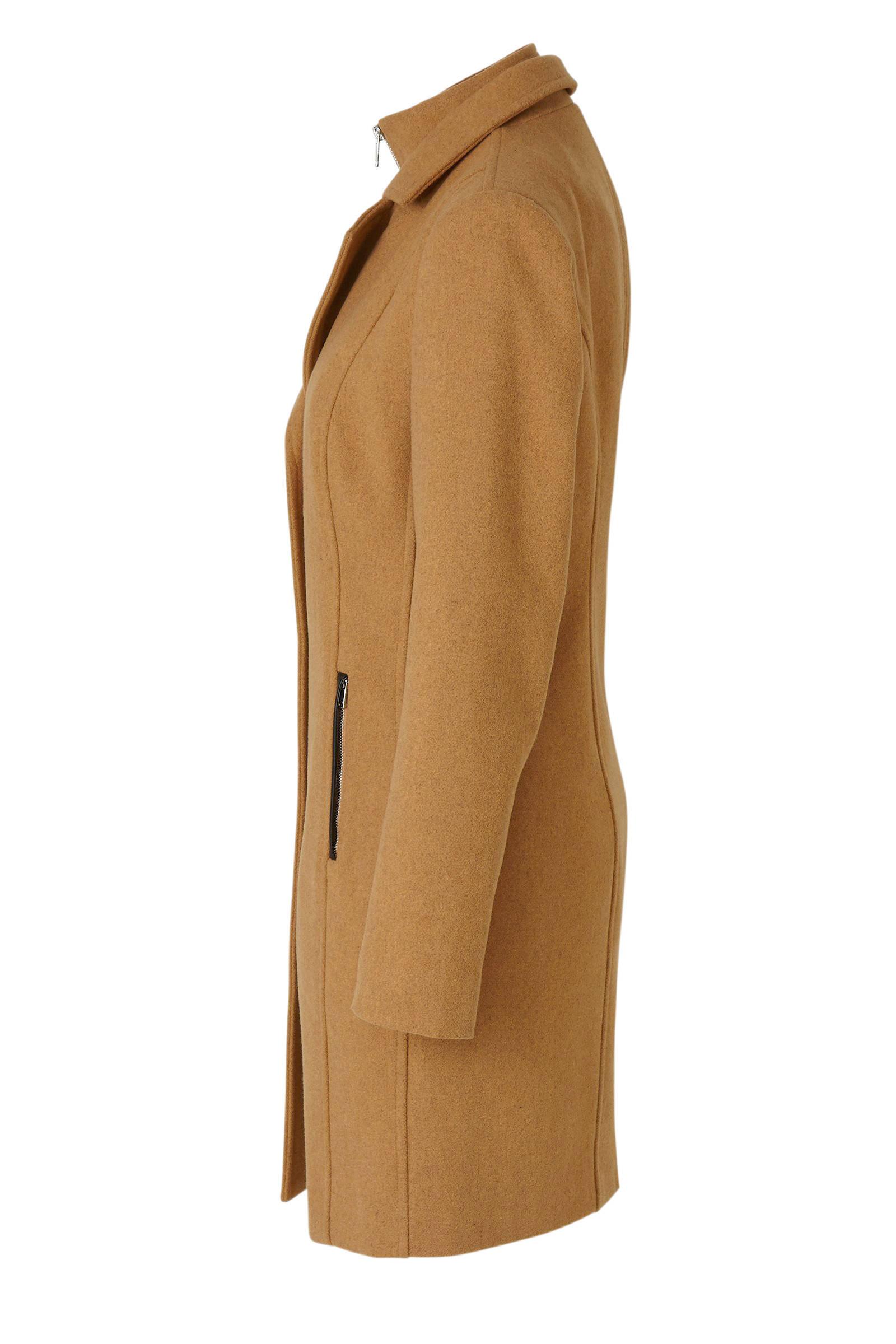 anytime coat met wol camel   wehkamp