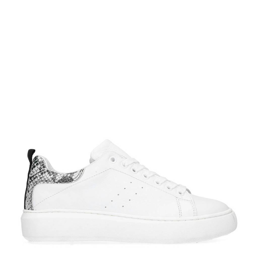 Manfield  leren sneakers wit/slangenprint, Wit/grijs