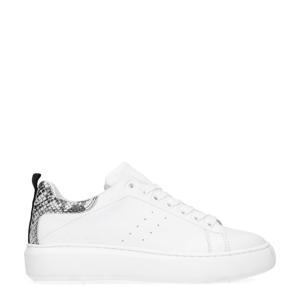 leren sneakers wit/slangenprint