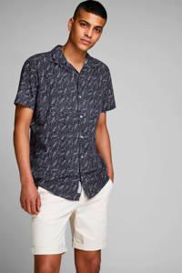 JACK & JONES PREMIUM regular fit overhemd met all over print donkerblauw, Donkerblauw