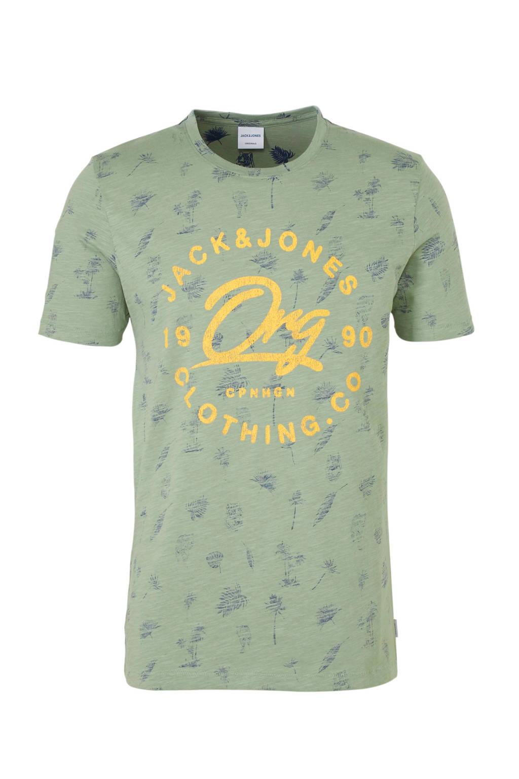 Jack & Jones Originals T-shirt met print, Groen