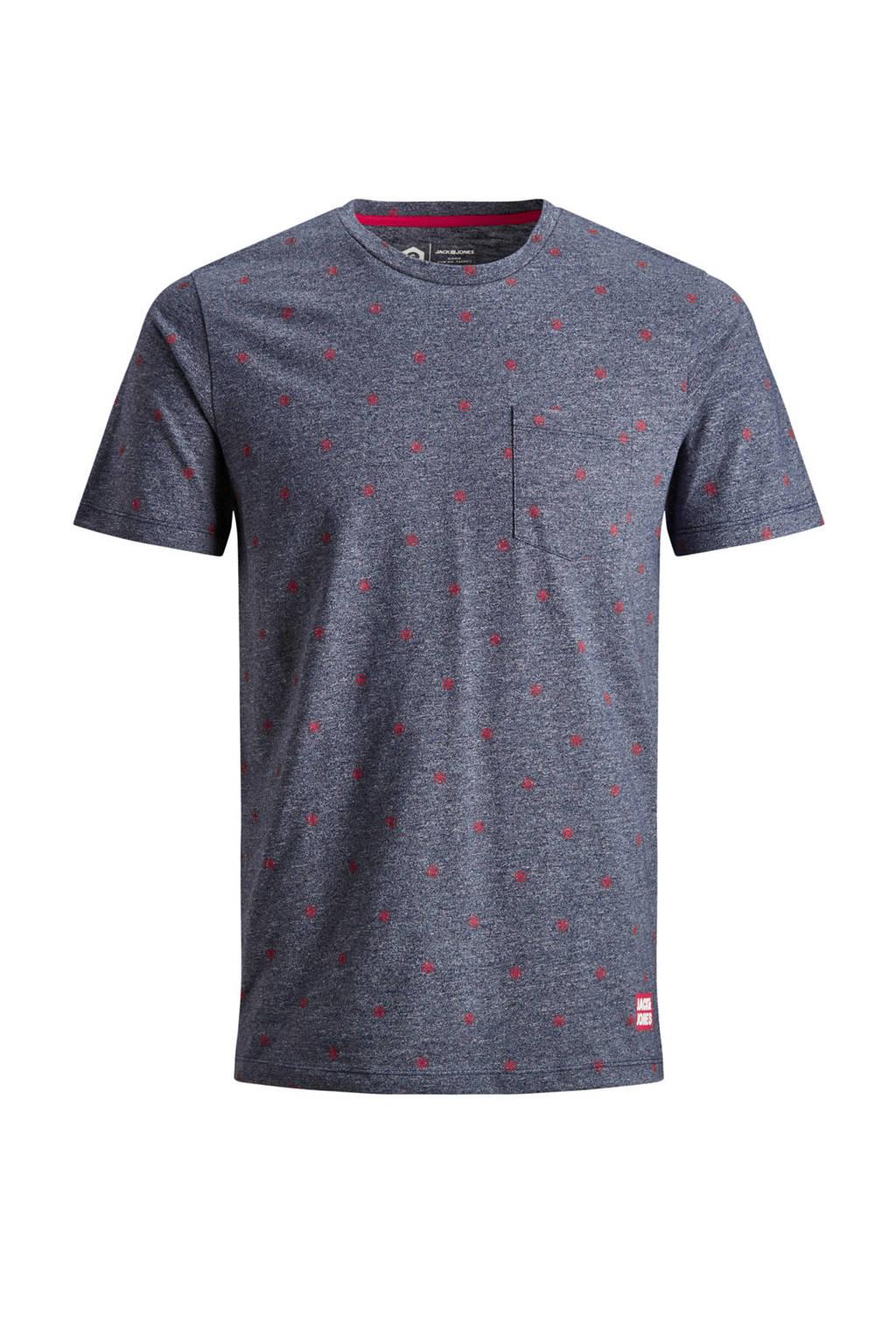 Jack & Jones Core gemêleerd T-shirt met all over print, Marine