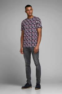 JACK & JONES PREMIUM T-shirt met all over print donkerblauw/roze, Donkerblauw/roze