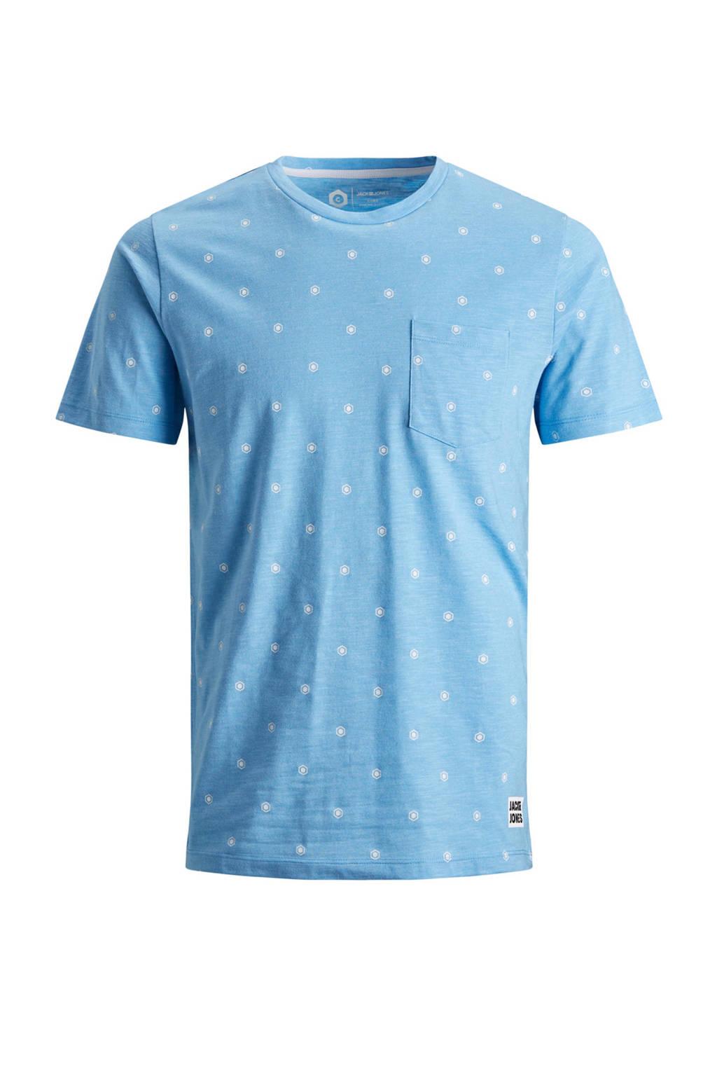 Jack & Jones Core gemêleerd T-shirt met all over print, Blauw