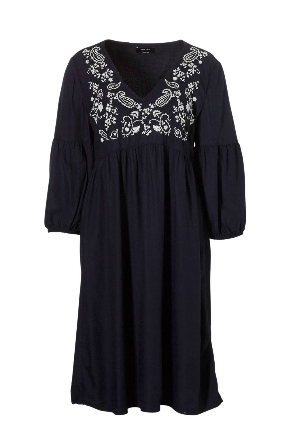 C&A Yessica jurk met borduursel donkerblauw, Donkerblauw