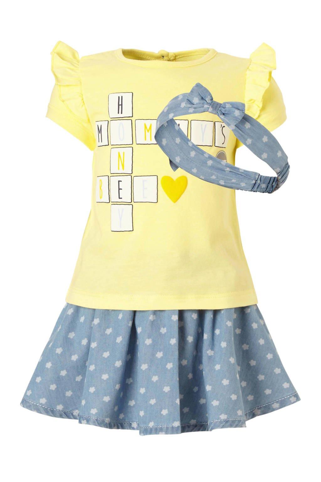 C&A Baby Club T-shirt + spijkerrok + haarband, Geel/denim blauw