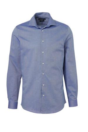 slim fit overhemd met print blauw