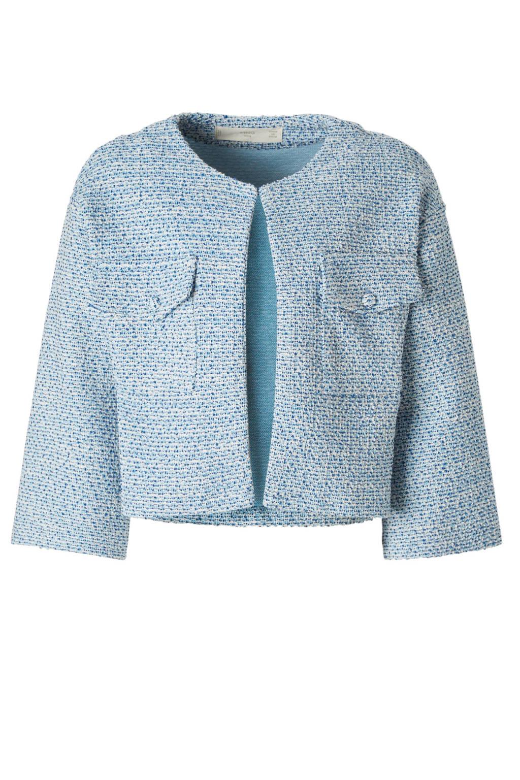 Mango Kids tweed jasje blauw, Lichtblauw