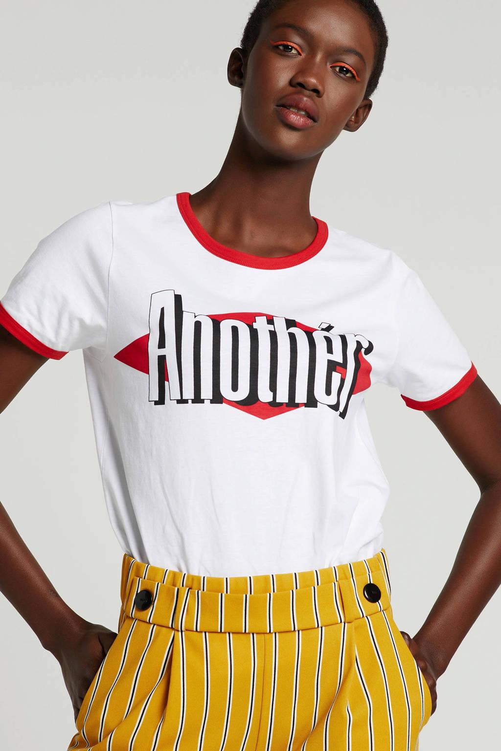 Another-Label T-shirt wit met printopdruk, Wit