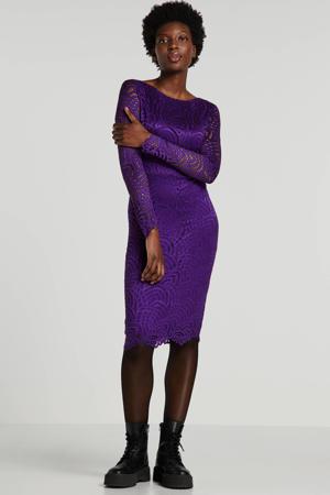 kanten jersey jurk met kant paars