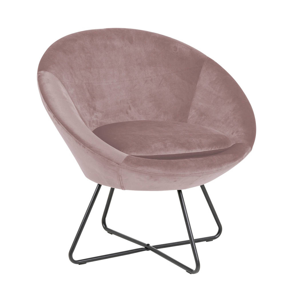 anytime fauteuil Curve velours, Roze