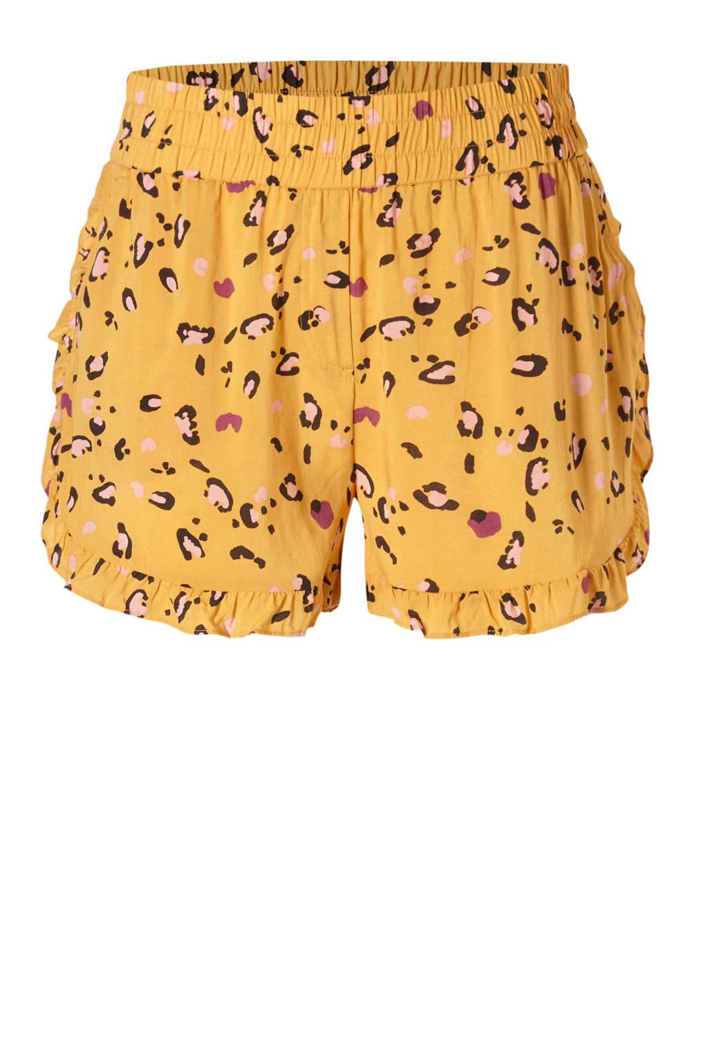 MELT korte broek in een all over print geel, Geel/zwart/roze