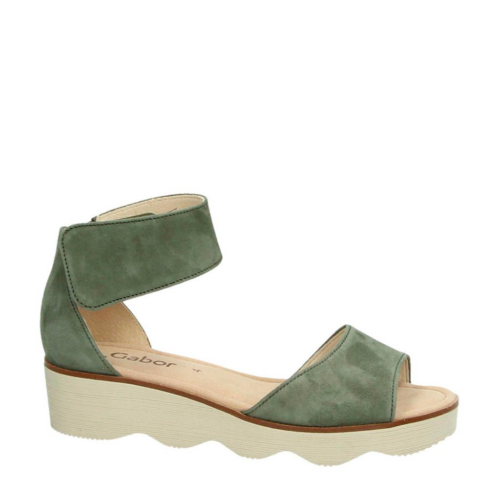 Gabor suède sandalen kaki, Kaki/groen