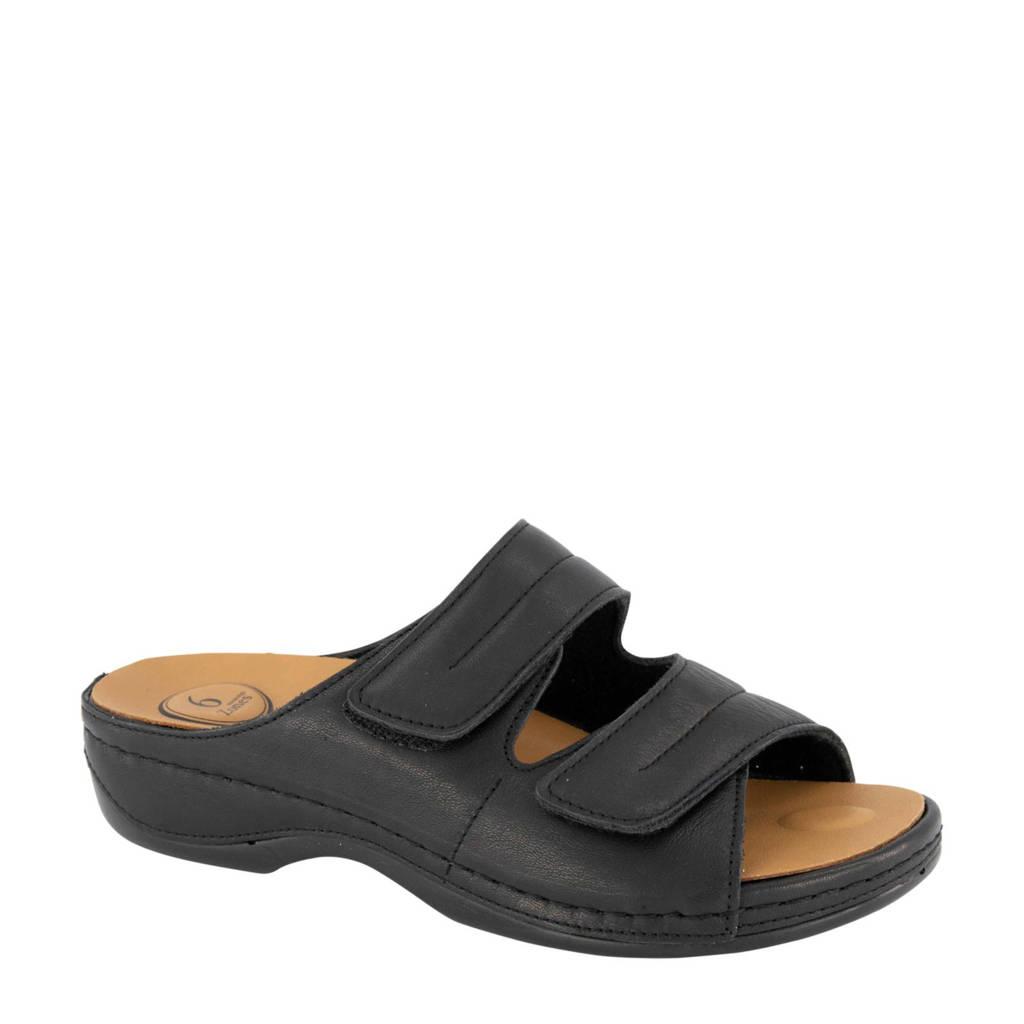 Medicus   leren slippers zwart, Zwart