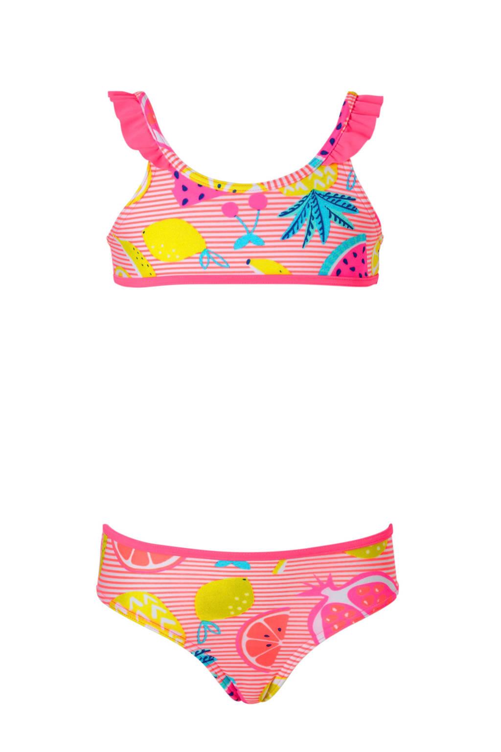 C&A Rodeo bikini met ananas roze, Neon roze/geel/blauw