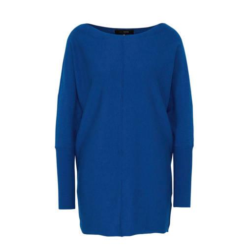anytime fijngebreide trui kobaltblauw
