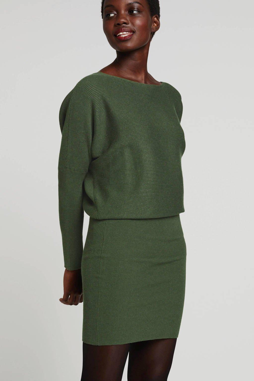 anytime gebreide jurk groen, Groen