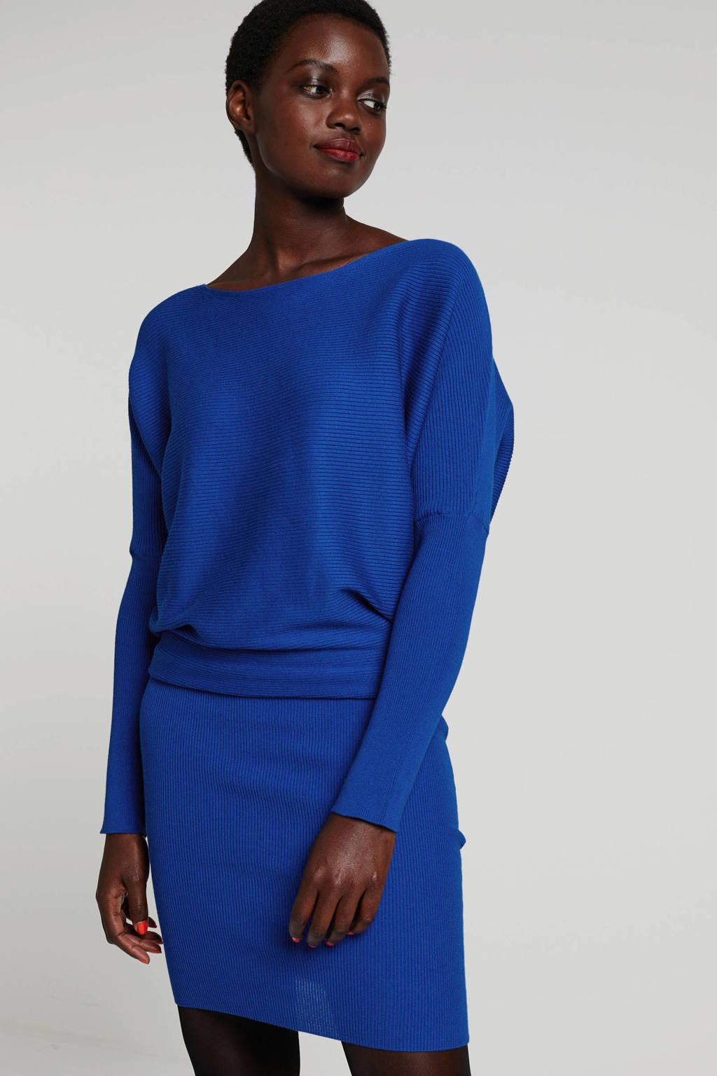 anytime gebreide jurk blauw, Blauw
