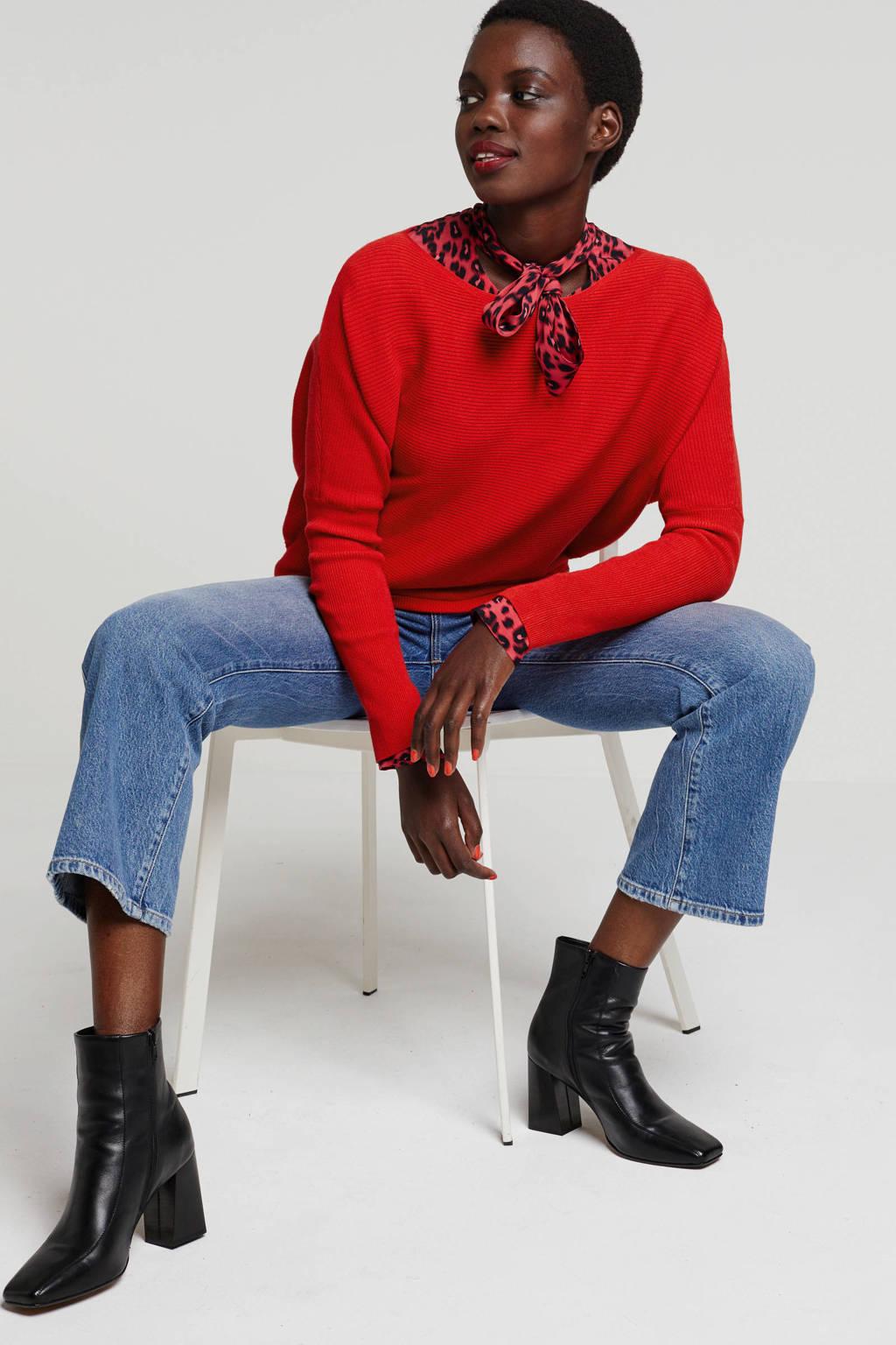 anytime ribgebreide trui rood, Rood