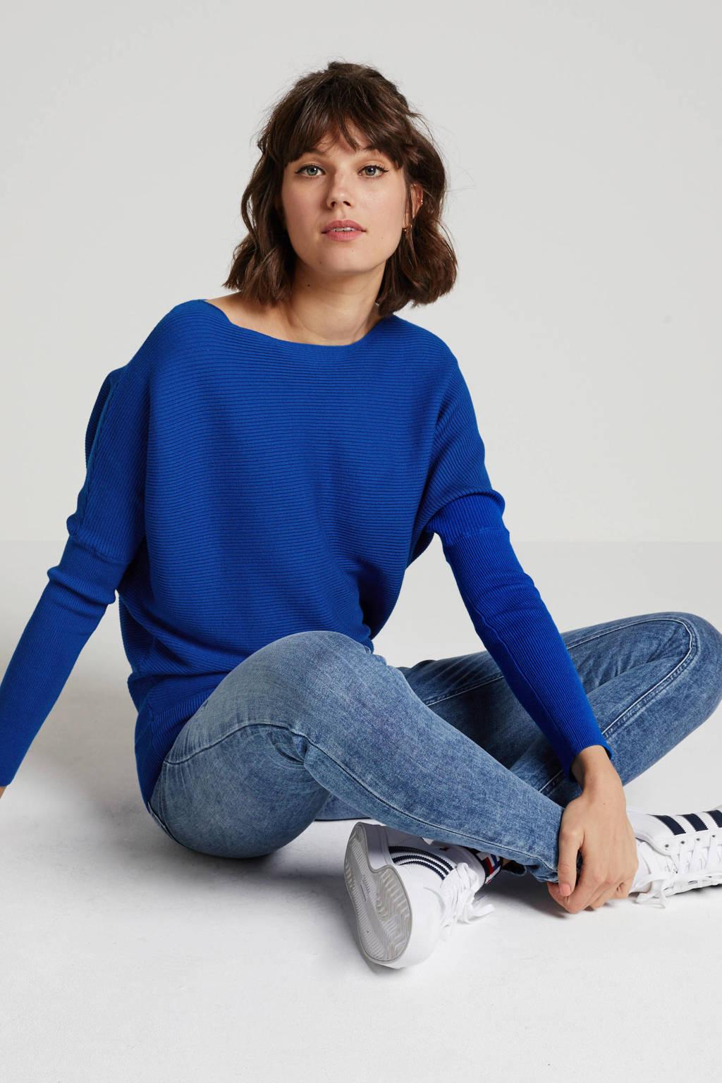 anytime ribgebreide trui kobaltblauw, Kobaltblauw