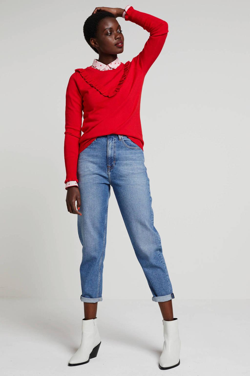 wehkamp trui met ruches rood, Rood