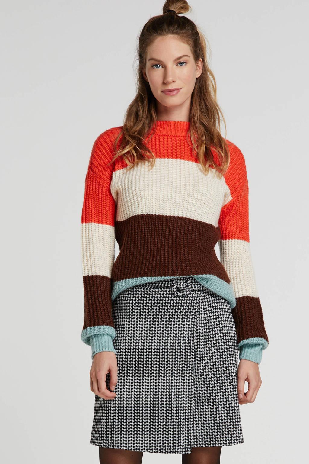 wehkamp gestreepte grofgebreide trui fel rood/mint/ecru/donkerbruin, Fel rood/mint/ecru/donkerbruin