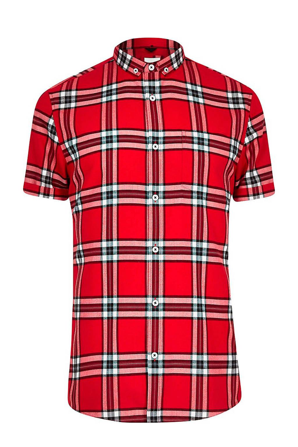 Overhemd Rood Zwart.River Island Overhemd Ruitdessin Rood Wehkamp