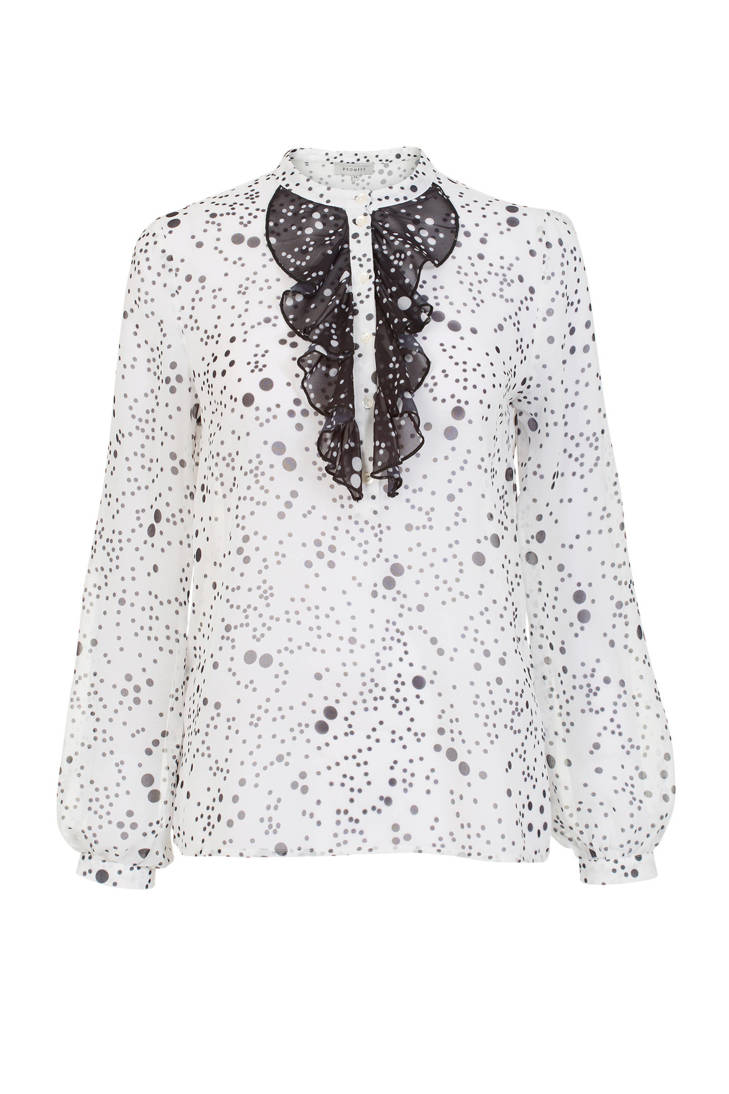 blouse met Mart en Promiss volant wit stippen Visser TEOqyUPw