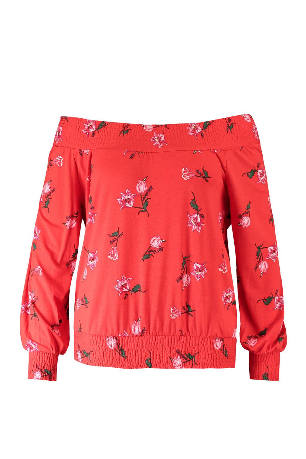 FSTVL by MS Mode off shoulder top met bloemen rood, Rood/roze/groen