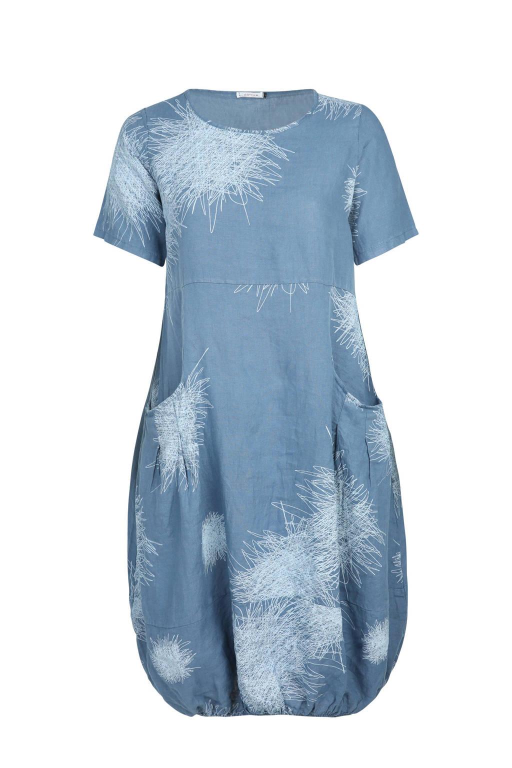 Paprika linnen jurk met allover print, Lichtblauw