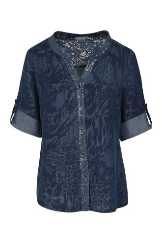 blouse in denimlook met details