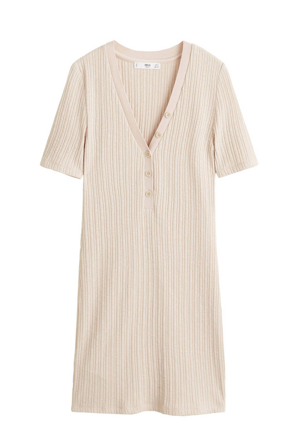 3c40fbe59e57aa Mango geribde getailleerde jurk beige