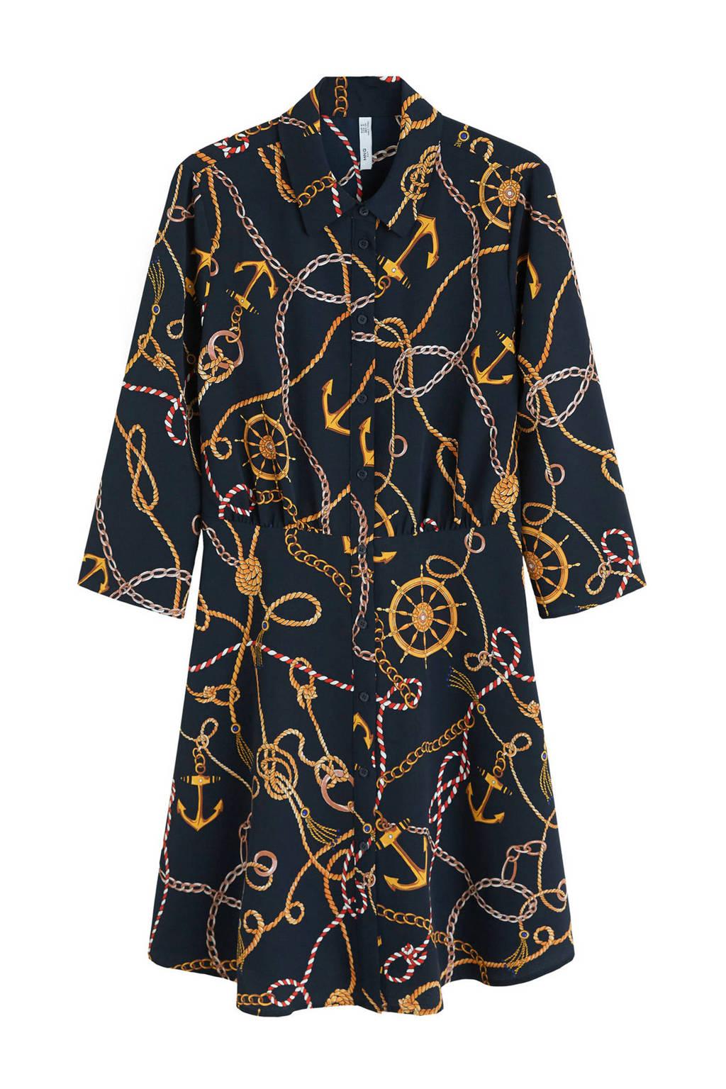 Mango jurk met all-over print, Donkerblauw/goud