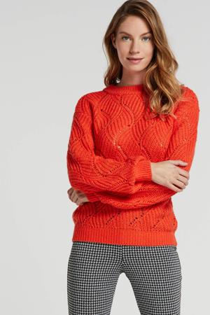 grofgebreide trui fel rood