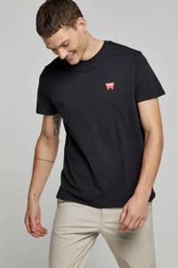 Wrangler T-shirt met print logo, Zwart