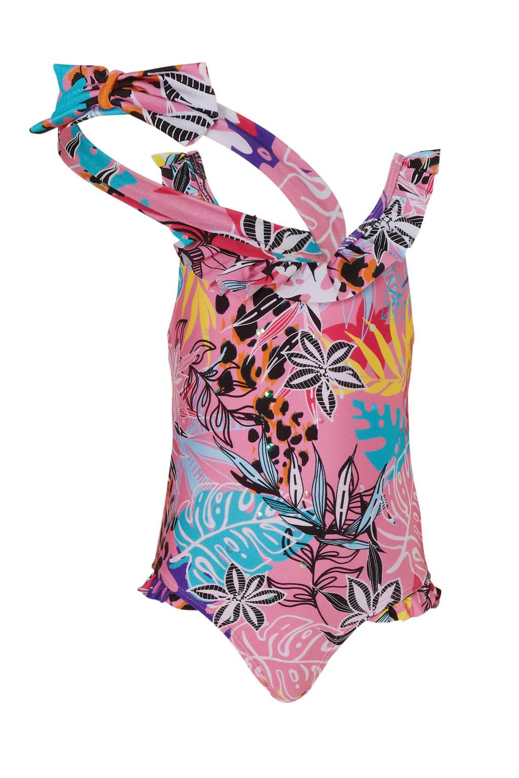 River Island badpak met all over print roze, Roze/zwart/wit