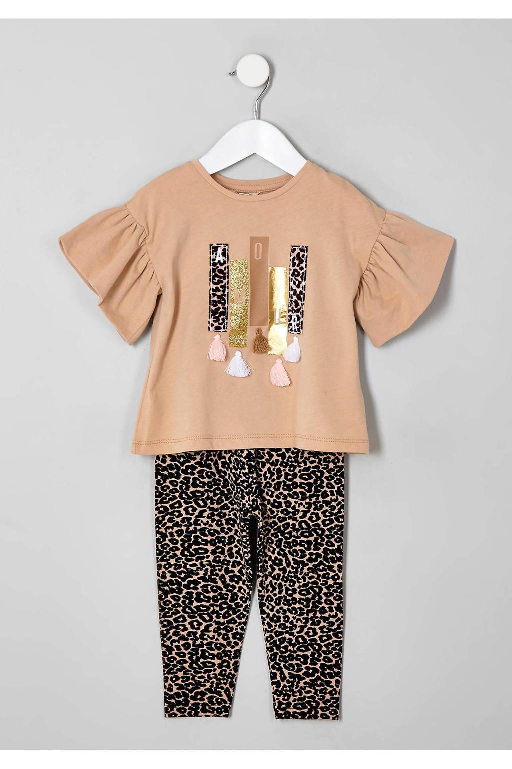 River Island T-shirt + broek met panterprint, Beige/bruin