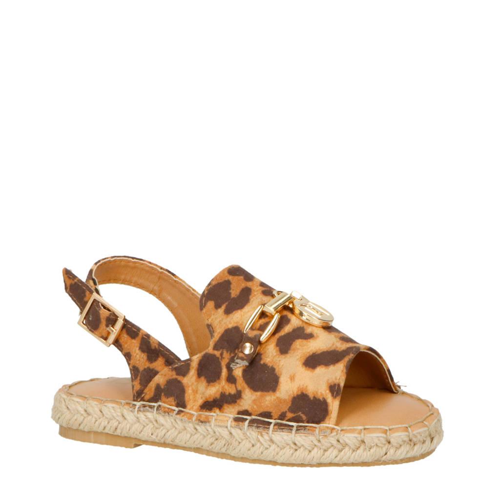 River Island   espadrille sandalen met panterprint, Bruin/zwart