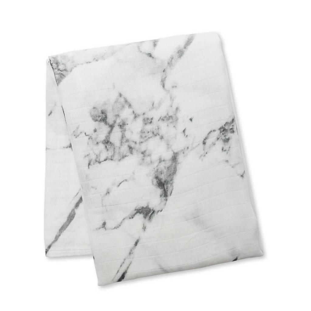 Lulujo wikkeldeken Marble, Wit/grijs
