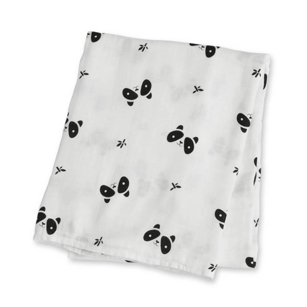 Lulujo wikkeldeken Panda, Wit/zwart