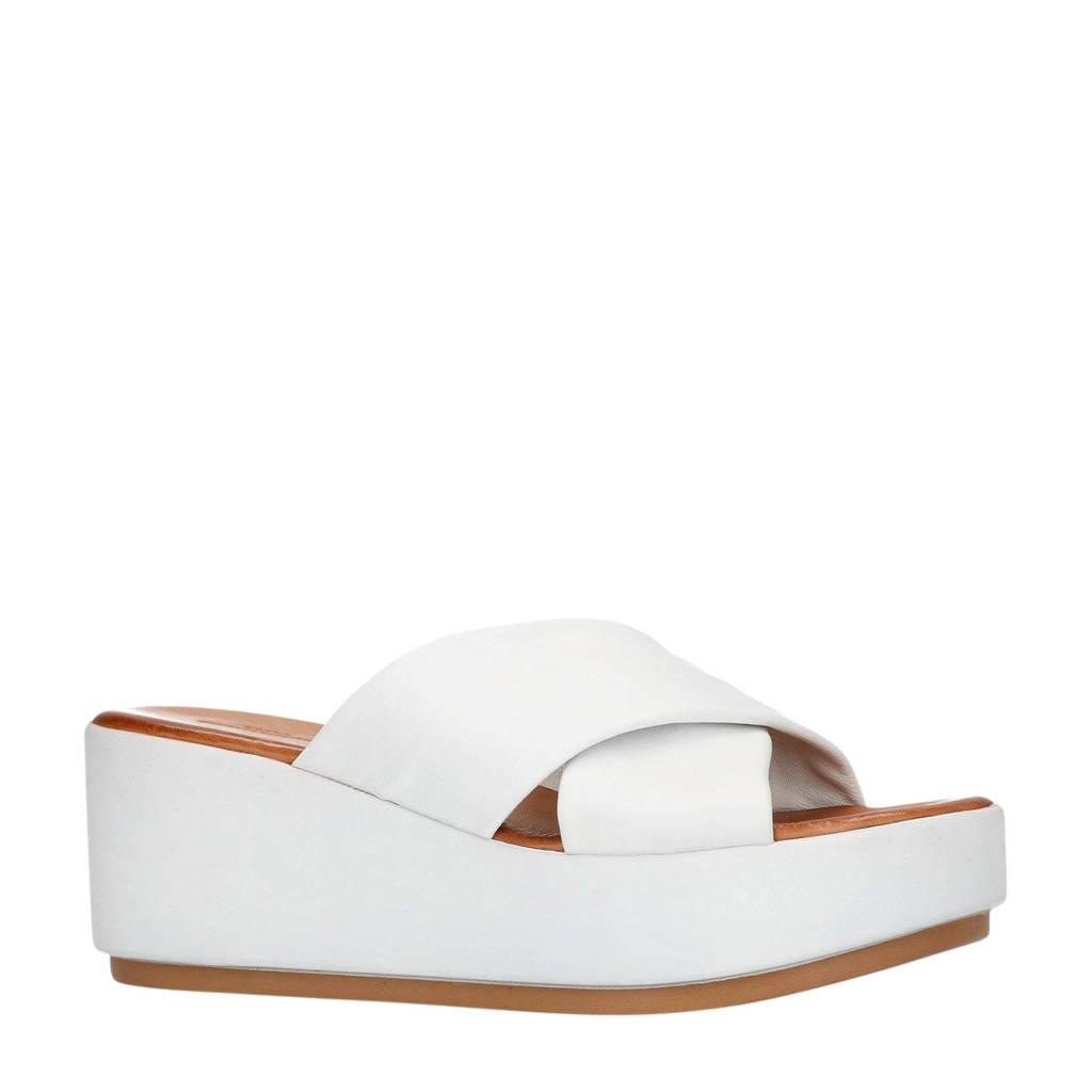 Sacha leren plateau slippers wit, Wit