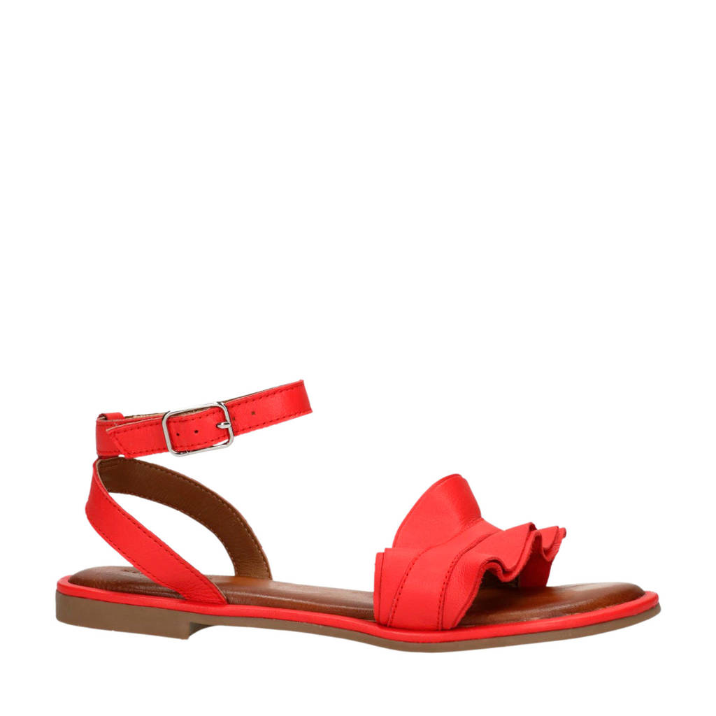 Sacha leren sandalen rood, Rood