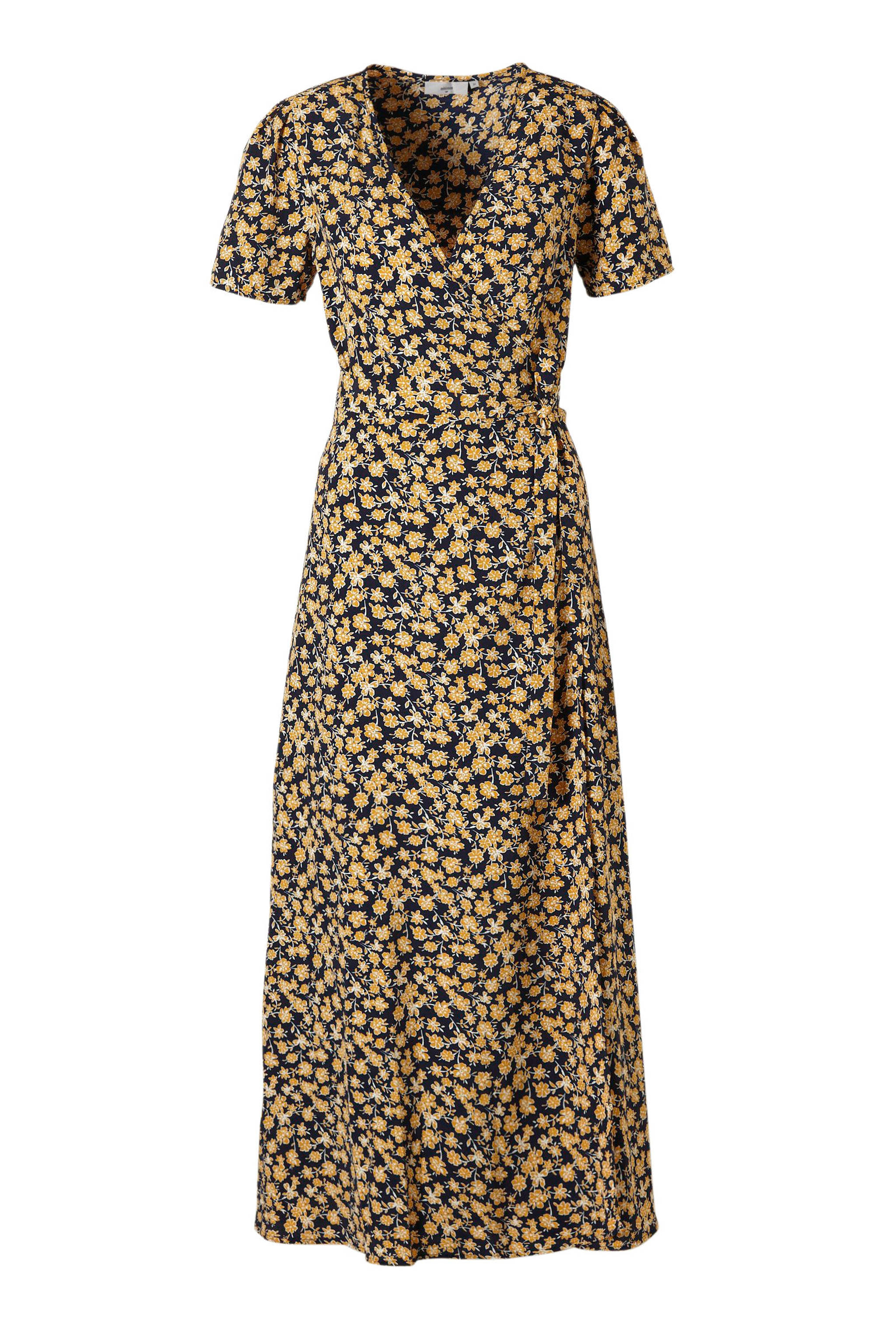 9e9643ed309b41 Minimum Elastica gebloemde overslag maxi jurk