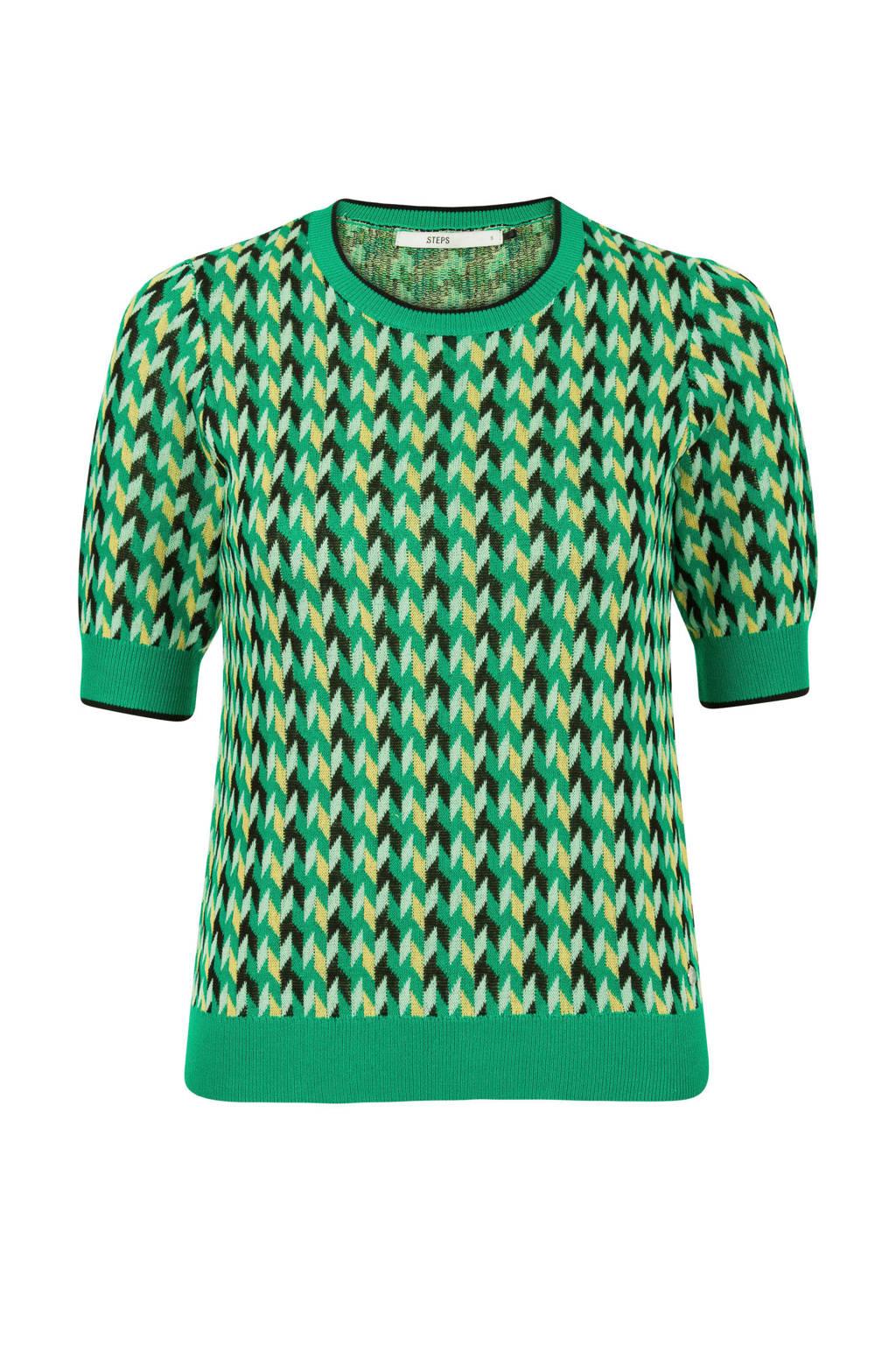 Steps top met all over print groen, Groen/geel/zwart