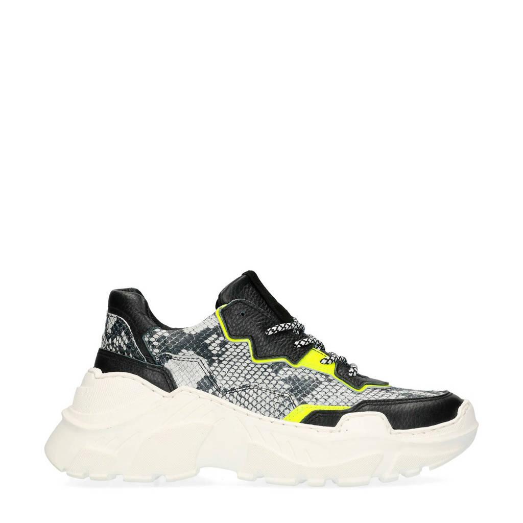 Sacha  dad sneakers zwart, Zwart/grijs/geel