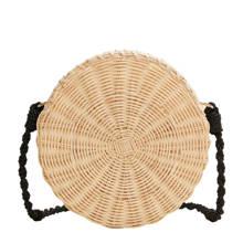 bamboe schoudertas lichtbeige